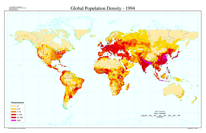Global Population Density  1994Population Density Map