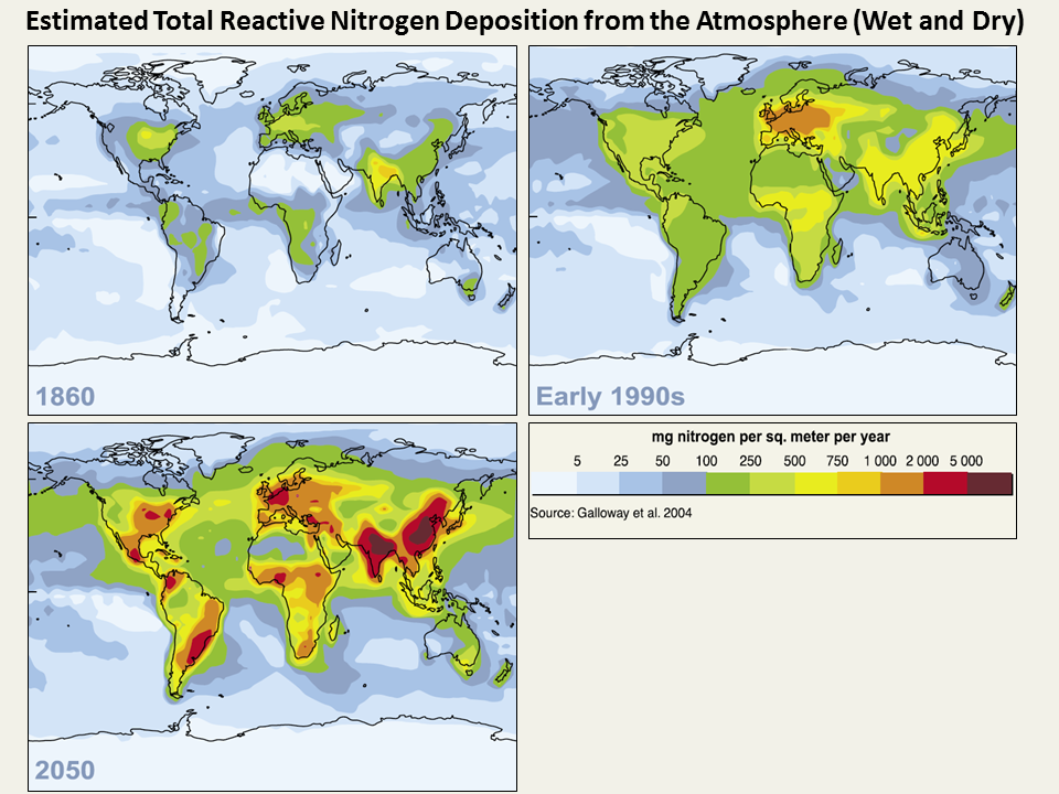 Estimated Total Reactive Nitrogen deposition from the Atmosphere (Wet and Dry) 1860-2050