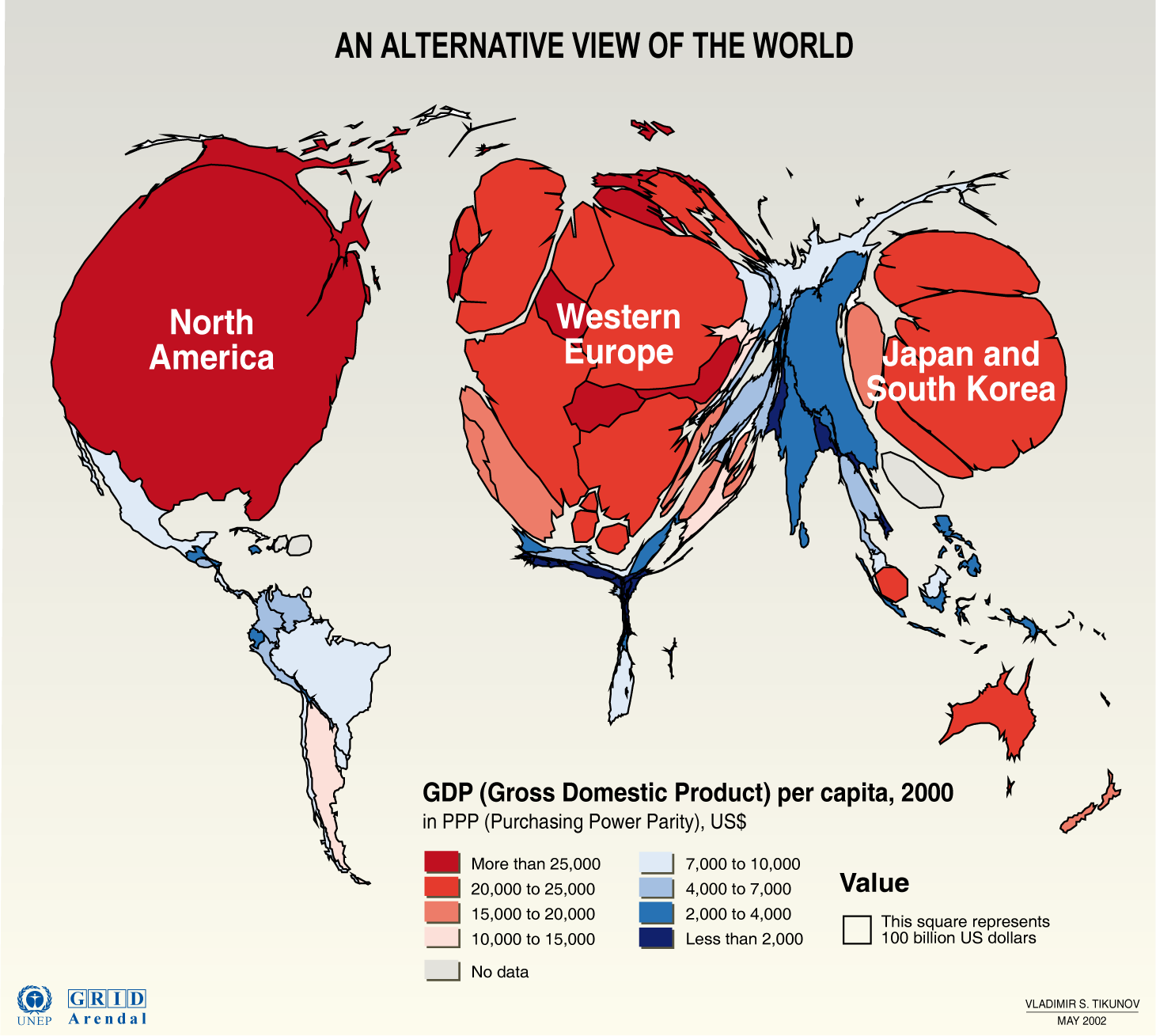 global economies This data visualization is the most simple breakdown we have seen that shows the composition of the world economy.