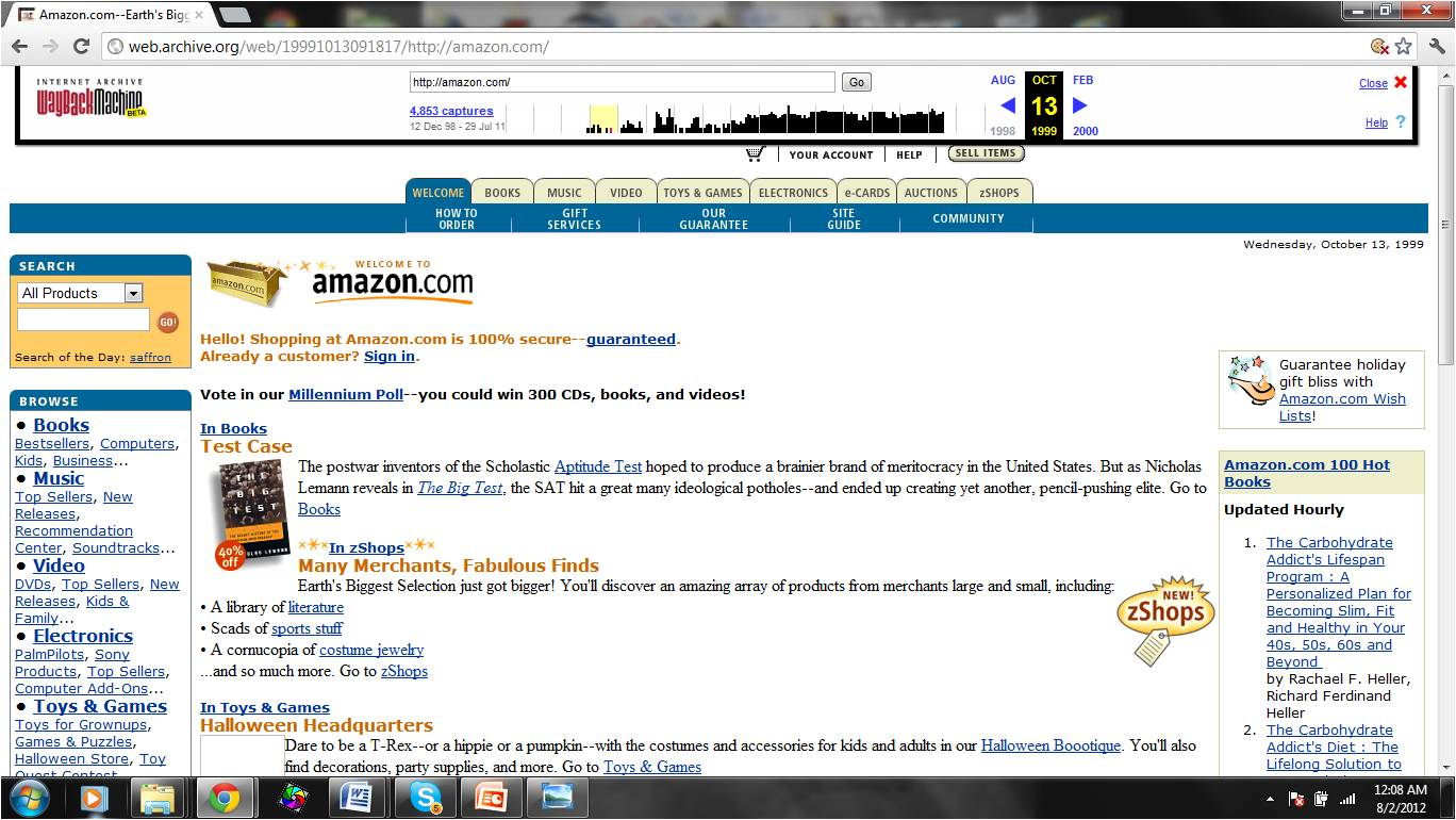 Amazon Homepage from 1999