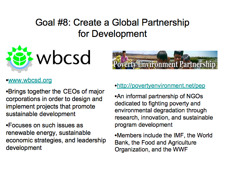 Organizations Working to Create a Global Partnership for Development
