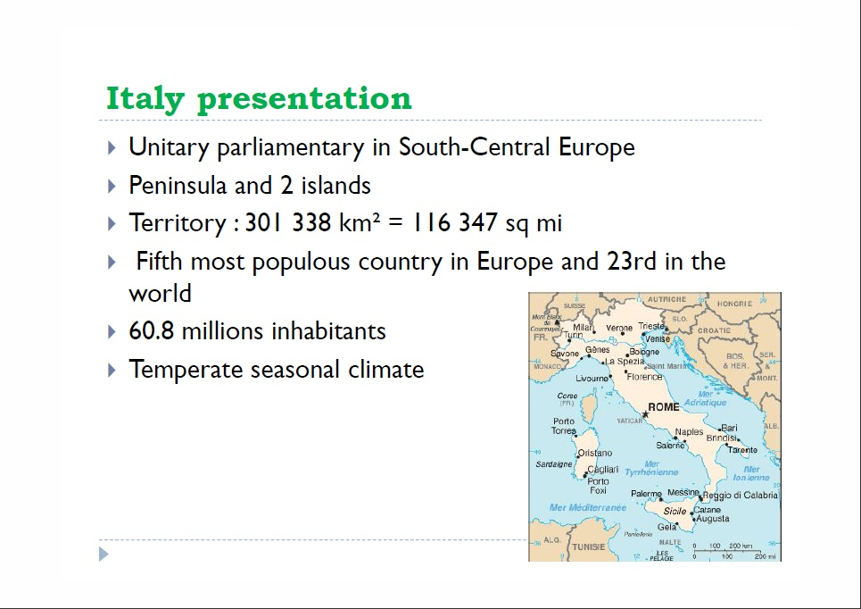 italy presentation Location of italy (dark green) – in europe – in the european union (light green) – [legend] capital and largest city, rome 41°54′n 12°29′e / 41900°n 12483 °e / 41900 12483 official languages, italiana native languages, see full list religion 744% catholicism 226% irreligious 30% other demonym italian.