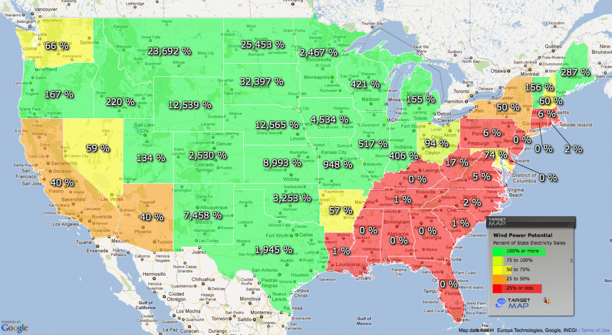 United States Wind Energy Potential By State SimCenter Www - Us map wind