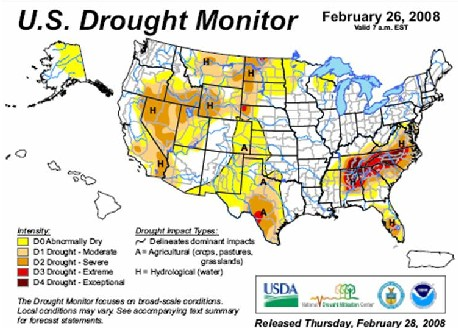 US Drought Monitor Map SimCenter wwwWRSCorg Visualizing