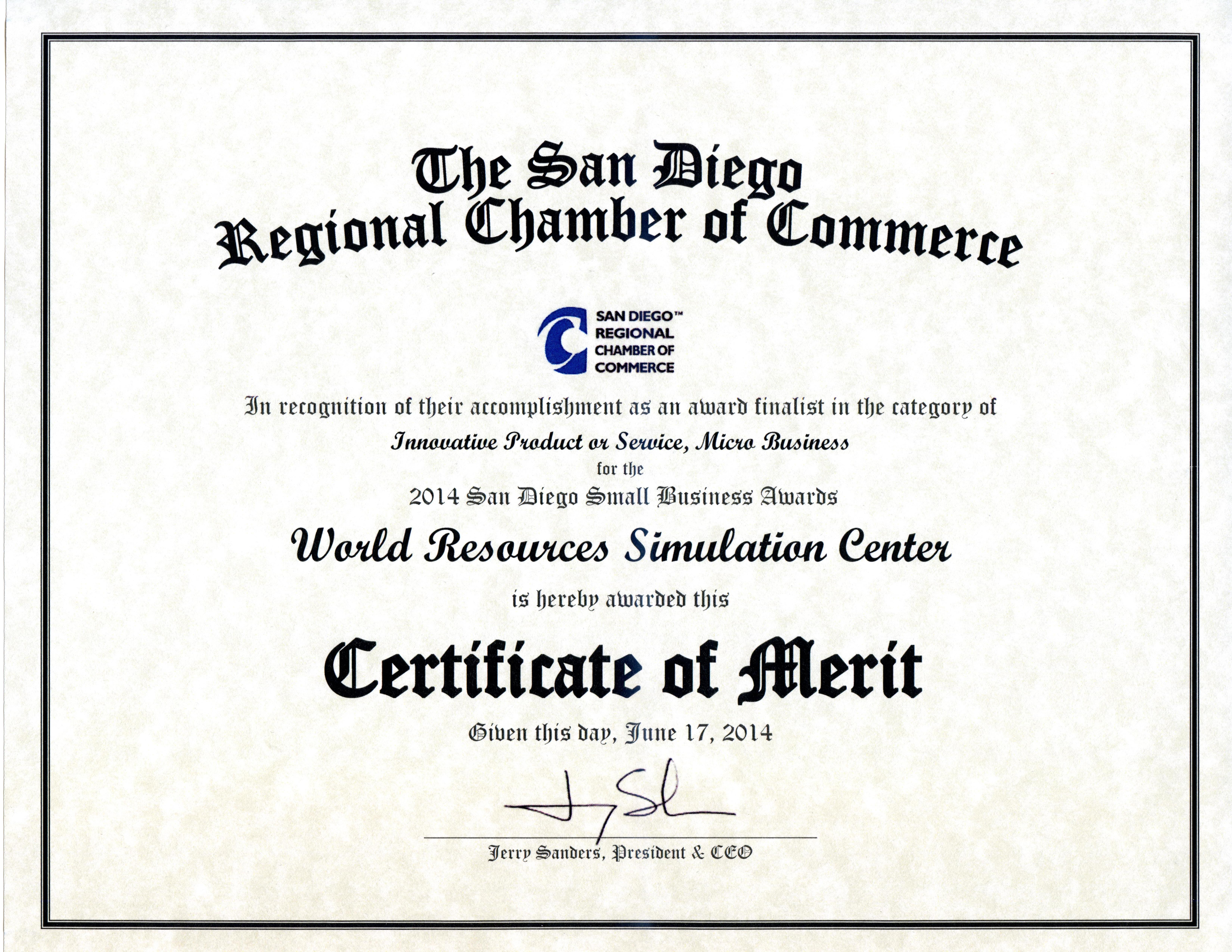 San Diego Regional Chamber Of Commerce Certificate Of Merit