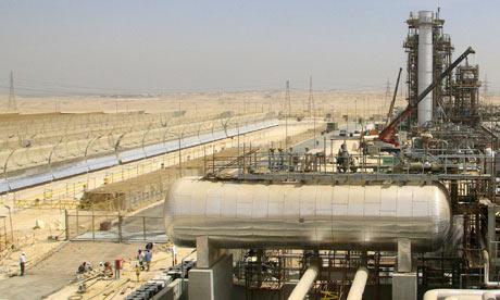 The power station at Kuraymat uses both natural gas and solar panels to produce