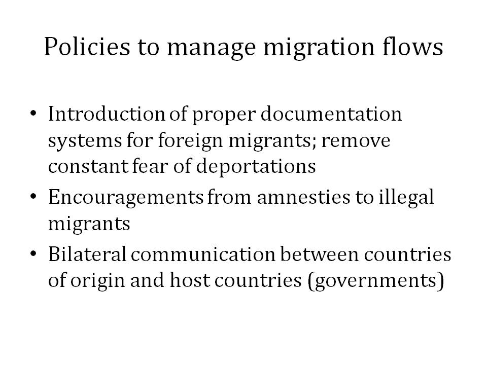 Policies to Manage Migration Flows